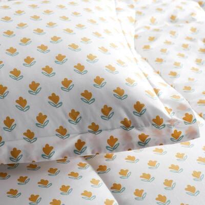 Company Organic Cotton Mini Prints Flowers Multicolored Cotton Percale Sheet Set