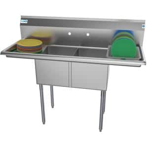 52 in. Freestanding Stainless Steel 2 Compartments Commercial Sink with Drainboard