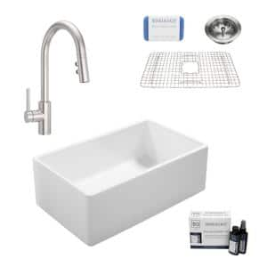 Ward All-in-One Fireclay 33 in. Single Bowl Farmhouse Kitchen Sink with Pfister Stellen Faucet in Stainless