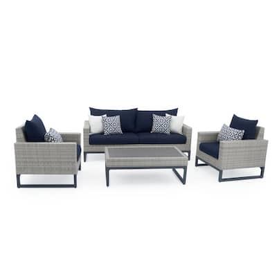 Milo Grey 4-Piece Wicker Patio Deep Seating Conversation Set with Sunbrella Navy Blue Cushions