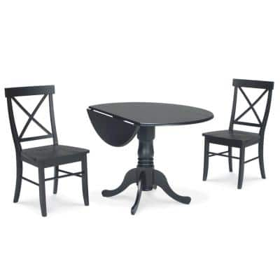 Brynwood 3-Piece 42 in. Black Round Drop-Leaf Wood Dining Set with X-Back Chairs