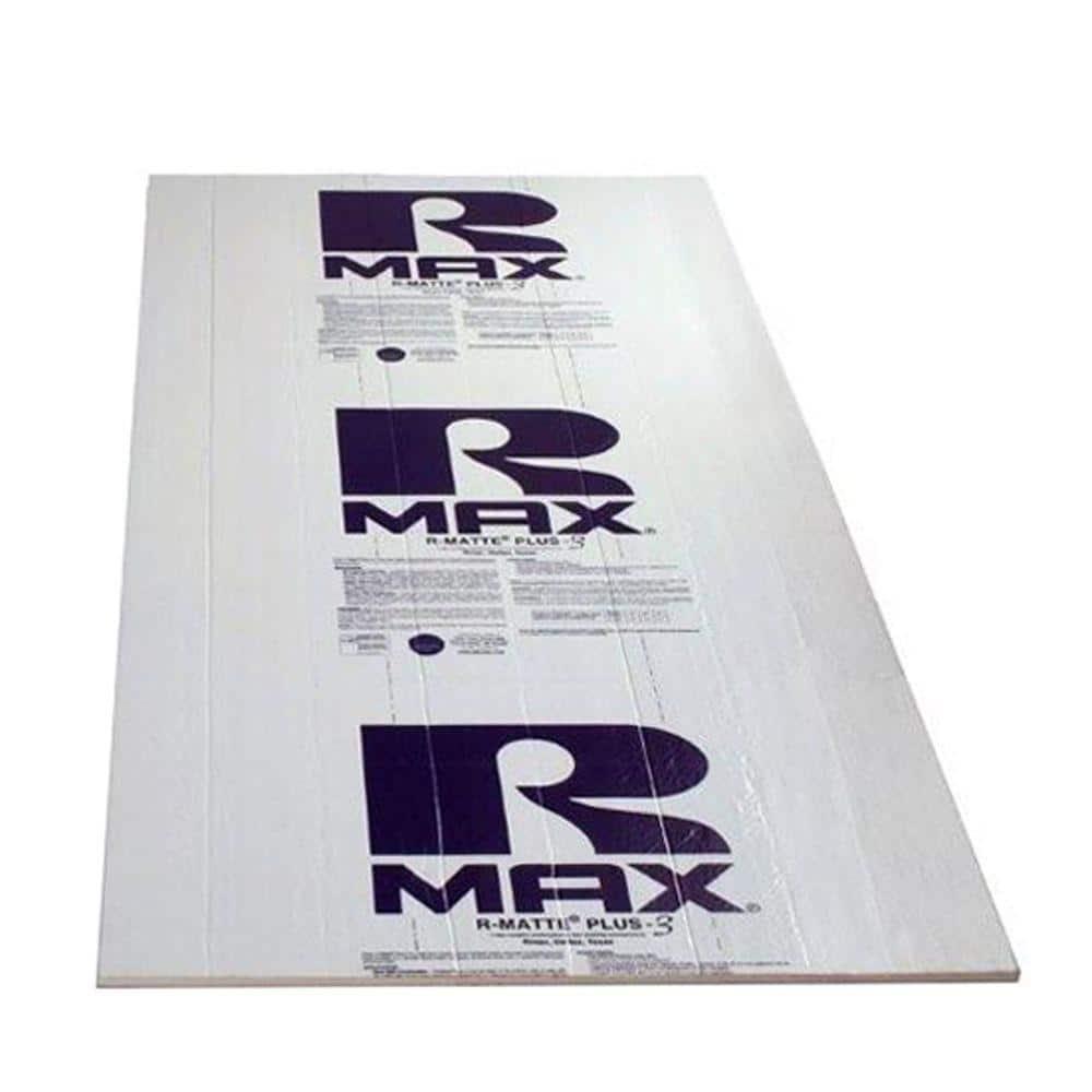 R-Matte Rmax Plus-3, 1/2 in. x 4 ft. x 8 ft. R-3.2 Polyisocyanurate Rigid Foam Insulation Board