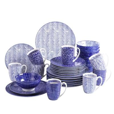 Takaki 32-Pieces Japanese Style Porcelain Multi-Colour Crockery Dinner Set (Service for 8)