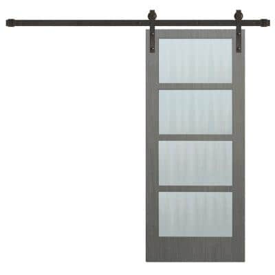 36 in. x 84 in. 4-Lite Driftwood Clear Coat Wood Interior Sliding Barn Door with Oil Rubbed Bronze Hardware