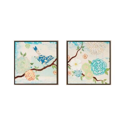 Blooming Florals Gel Coat Deco Box Wall Art (Set of 2)