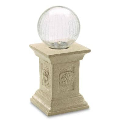 Chameleon Crackled Glass Solar Gazing Ball with Tuscan Pedestal