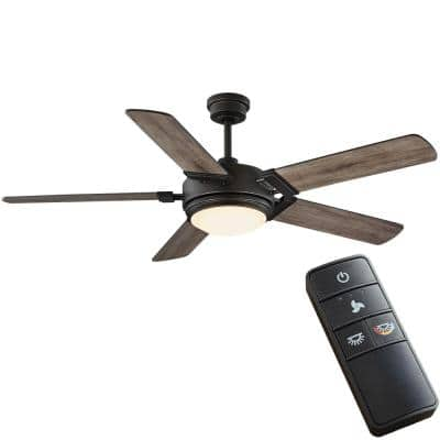 Blakeridge 60 in. White Color Changing Integrated LED Bronze Indoor/Outdoor Ceiling Fan with Light Kit and Remote