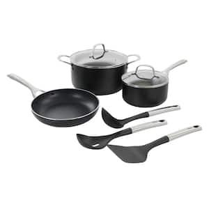 Palladium 8 Piece Aluminum Cookware Set in Black