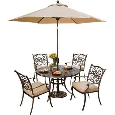 Traditions Oil-Rubbed Bronze 5-Piece Aluminum Outdoor Dining Set with Natural Oat Cushions