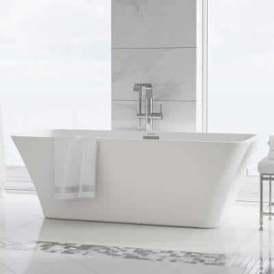 St Tropez 67 in. Acrylic FlatBottom Non-Whirlpool Freestanding Rectangular Soaking Bathtub in White