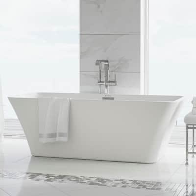 St Tropez 67 in. Acrylic FlatBottom Non-Whirlpool Freestanding Rectangular Soaking Bathtub in White
