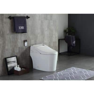 Harper SMART 1-Piece 1.28/1.6 GPF Dual Flush Elongated Toilet in White, Seat Included