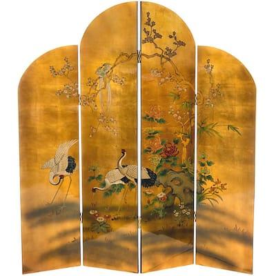 6 ft. Gold 4-Panel Golden Cranes Room Divider