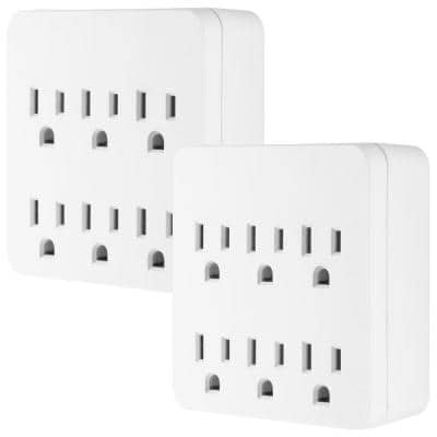 6-Outlet Surge Protector Wall Tap Adapter, 1020J, White, (2-Pack)