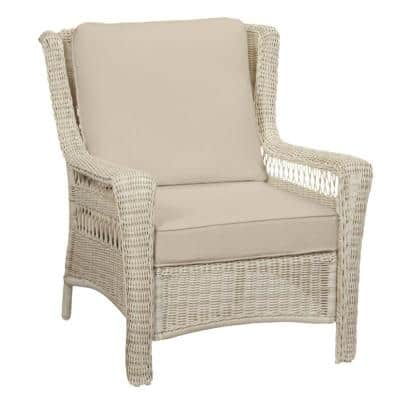 Park Meadows Off-White Wicker Outdoor Patio Lounge Chair with CushionGuard Putty Tan Cushions