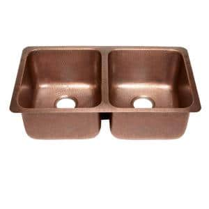 Rivera Luxury Series Undermount Solid Copper 32 in. Double Bowl 50/50 Kitchen Sink in Antique Copper