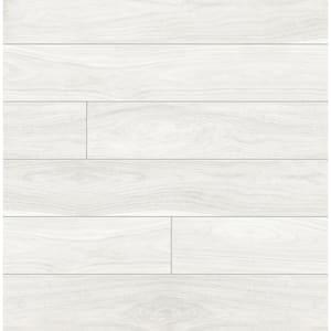 Off-White Teak Planks Peel and Stick Wallpaper 30.75 sq. ft.