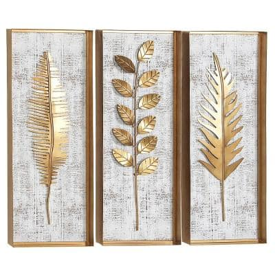 32 in. x 12 in. Gold Metal Contemporary Floral Wall Decor (Set of 3)