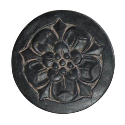 18 in. Round Aged Charcoal Cast Stone Large Floral Step Stone or Wall Plaque (set of 3)