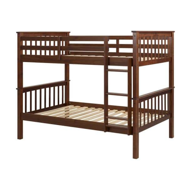 Walker Edison Furniture Company Solid Wood Twin over Twin Mission Design Bunk Bed - Walnut   The Home Depot