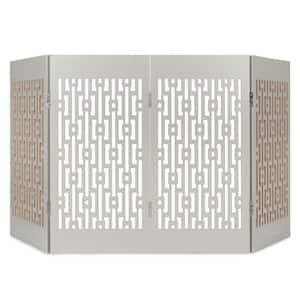 Decorative Freestanding Pet Gate, Gray Geometric