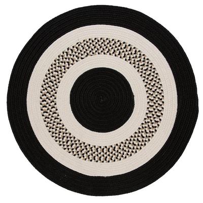 Spiral II Black 12 ft. x 12 ft. Indoor/Outdoor Round Area Rug