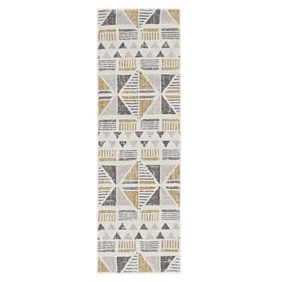 Bernadette Ivory/Gold 5 ft. x 7 ft. Geometric Polyester Runner Rug