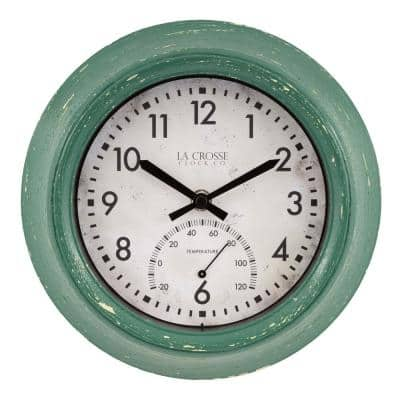9 in. Indoor/Outdoor Green Distressed Quartz Analog Clock with Thermometer