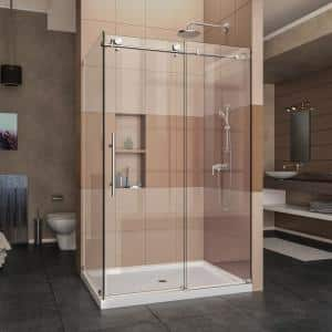 Enigma-X 34 1/2 in. D x 48-3/8 in. W x 76 in. H Frameless Sliding Corner Shower Enclosure in Polished Stainless Steel
