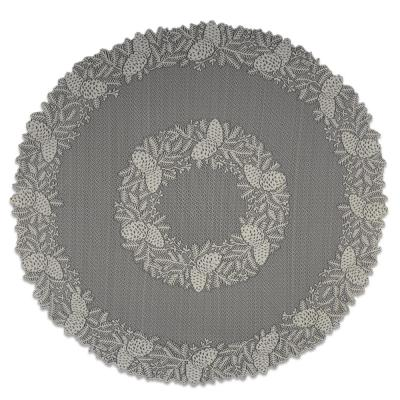 Highland Pine 42 in. W x 42 in. L Ivory Floral Polyester Round Table Topper