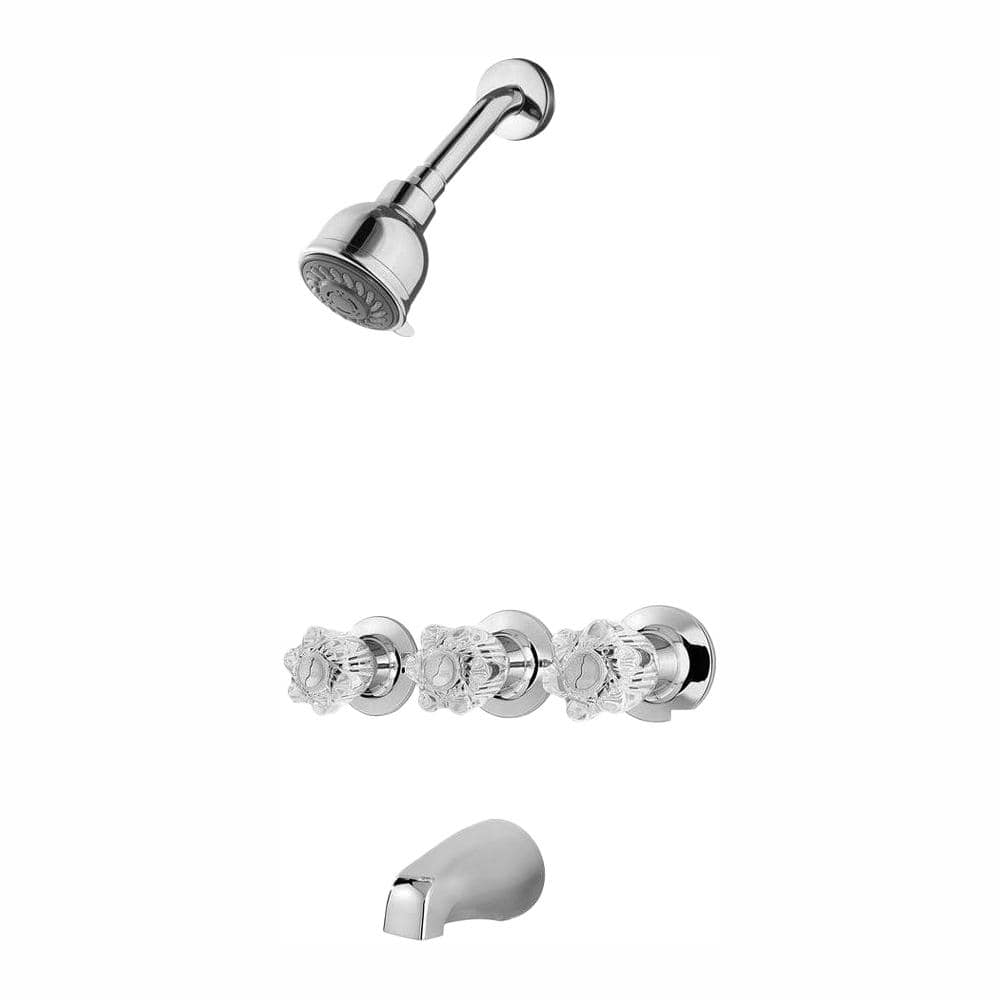 pfister bedford 3 handle 3 spray tub and shower faucet in polished chrome valve included 801 ws 2bdcc the home depot