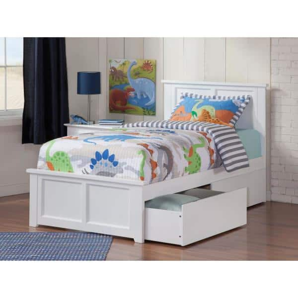 Atlantic Furniture Madison White Twin Xl Platform Bed With Matching Foot Board With 2 Urban Bed Drawers Ar8616112 The Home Depot