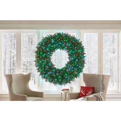 60 in. LED Pre-Lit Artificial Christmas Wreath with Micro-Style Red, Green and Pure White Lights