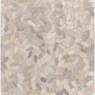 Sliced Pebble Truffle 12 in. x 12 in. x 10 mm Tumbled Marble Mosaic Tile (9.7 sq. ft. / case)