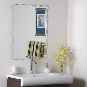 24 in. W x 32 in. H Frameless Rectangular Bathroom Vanity Mirror in Silver