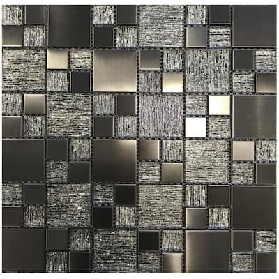 Gunmetal Luxe Metallic 11.81 in. x 11.81 in. Modular Joint Brushed Metal & Glass Mosaic Wall Tile (0.97 sq. ft./Ea)
