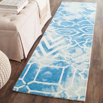 Dip Dye Blue/Ivory 2 ft. x 6 ft. Runner Rug