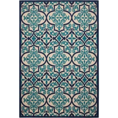 Aloha Navy 4 ft. x 6 ft. Moroccan Bohemian Indoor/Outdoor Area Rug