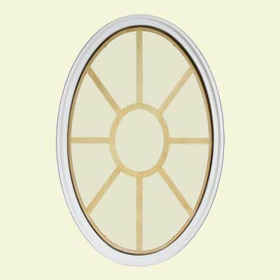 24 in. x 36 in. Oval White 6-9/16 in. Jamb 2-1/4 in. Interior Trim 9-Lite Grille Geometric Aluminum Clad Wood Window
