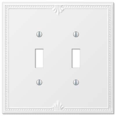 Richmond 2 Gang Toggle Composite Wall Plate - White