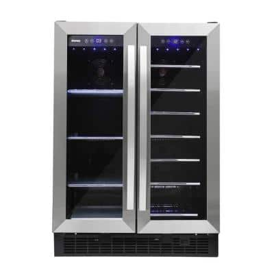 Dual Zone 24 in. Wide with 60 Can and 27 Wine Bottle Capacity Built-in Beverage Cooler