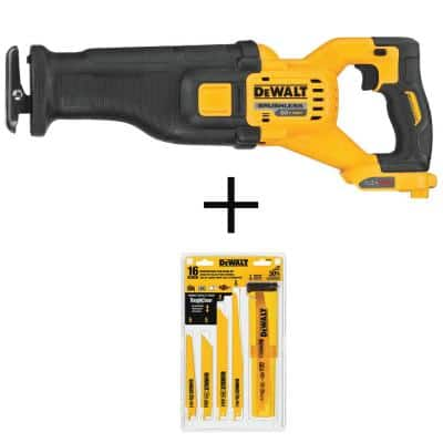 FLEXVOLT 60-Volt MAX Cordless Brushless Reciprocating Saw (Tool-Only) with Reciprocating Saw Blade Set (16-Piece)