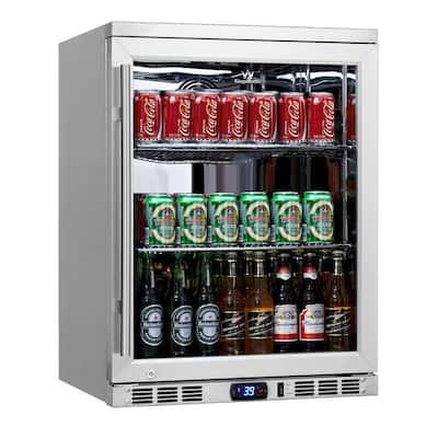 Single Zone 23.4 in. 140 (12 oz.) Single-Door Stainless Steel Beverage Can Cooler