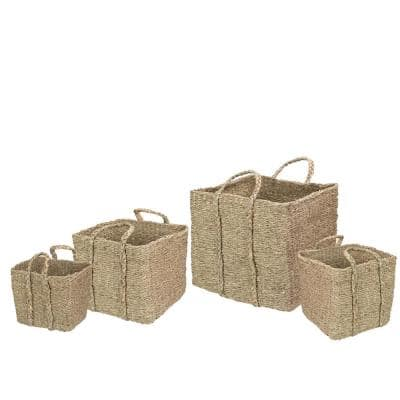 Set of 4 Rustic Beige Square Wicker Table and Floor Baskets (Set of 3)