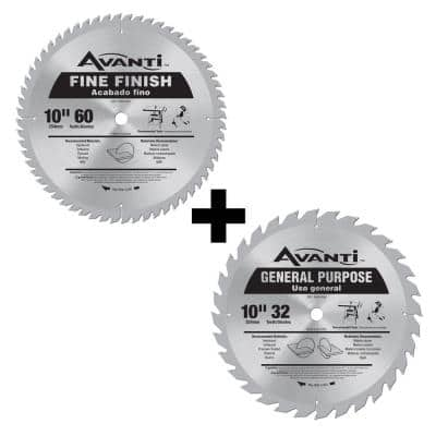 10 in. x 60-Tooth Fine Finish Saw Blade with Free 10 in. 32-Tooth Saw Blade