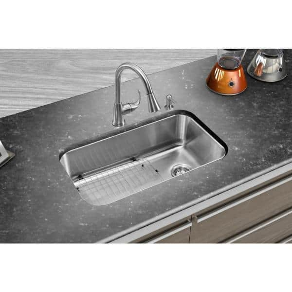 Glacier Bay All In One Dual Mount Stainless Steel 33 In 2 Hole Single Bowl Kitchen Sink In Brushed With Faucet Vt3322d1 The Home Depot