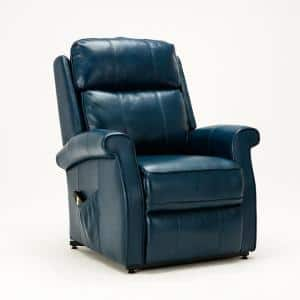 Lehman 35 in. Width Big and Tall Navy Blue Faux Leather 3 Position Recliner