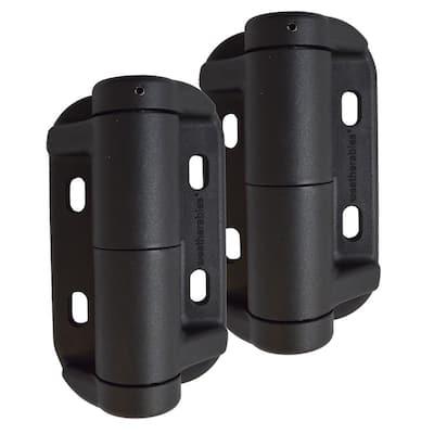 Black Nylon Polymer Self-Closing Adjustable Gate Hinges (2-Pack)