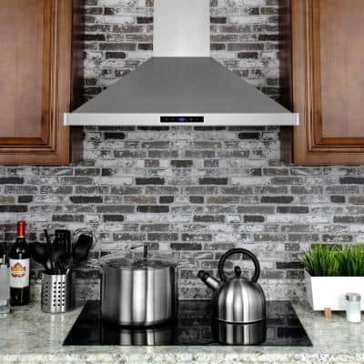 30 in. Convertible Kitchen Wall Mount Range Hood in Stainless Steel with LEDs, Touch Control and Carbon Filters