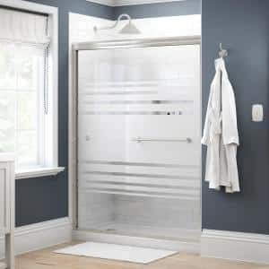 Crestfield 60 in. x 70 in. Traditional Semi-Frameless Sliding Shower Door in Nickel and 1/4 in. (6mm) Transition Glass